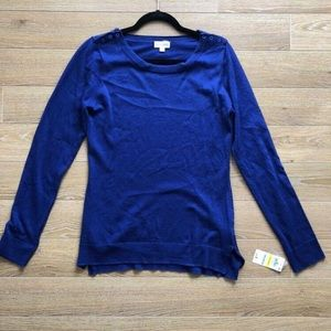 NWT- Maison Jules Blue 3 Shoulder Button Knit